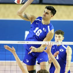 BYU's Felipe de Brito Ferreira, spikes the ball as BYU and Pepperdine play in the finals of the Mountain Pacific Sports Federation Championship, at the Smith Field House in Provo on Saturday, April 24, 2021. BYU won in straight sets.