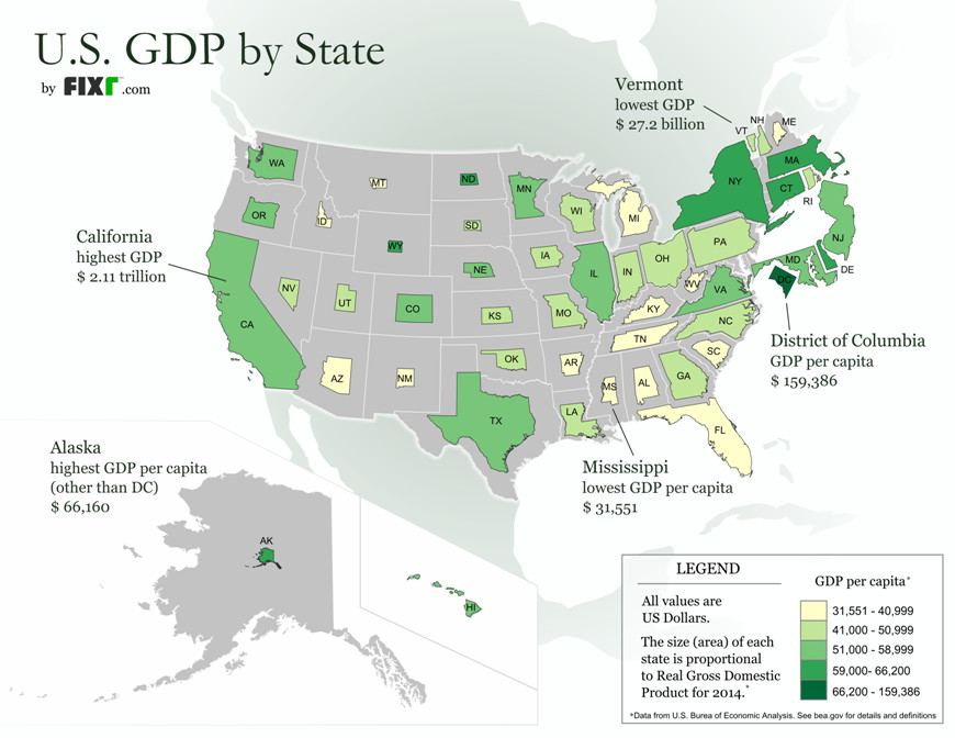 What US states look like based on their economic size ...