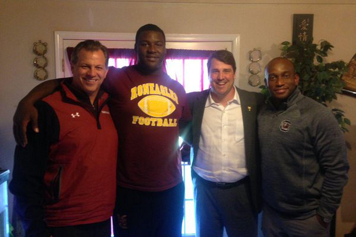 Stephon Taylor with South Carolina coaches