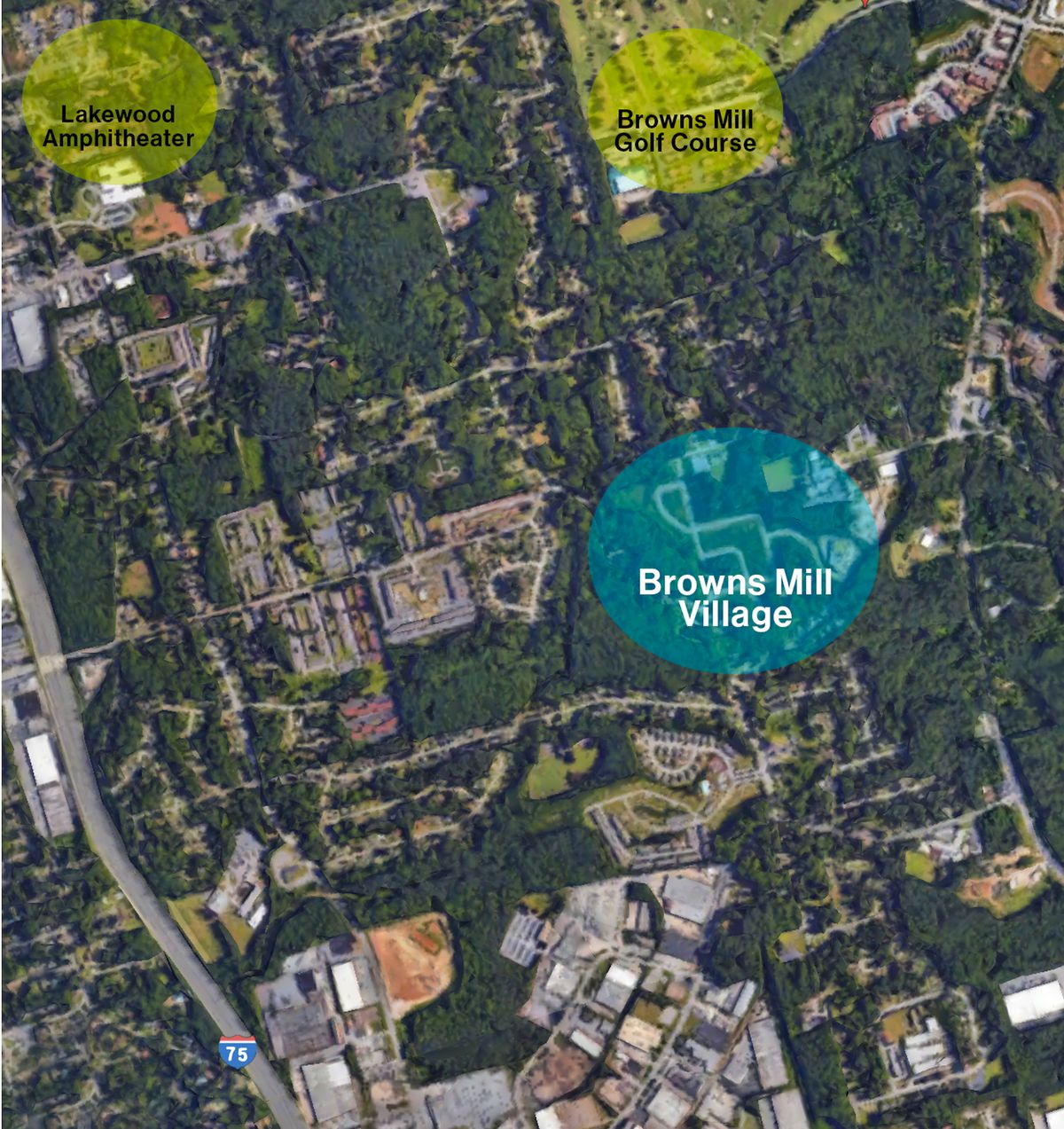 Aerial view of South Fulton showing the location of Browns Mill Village in relation to Lakewood amphitheater.