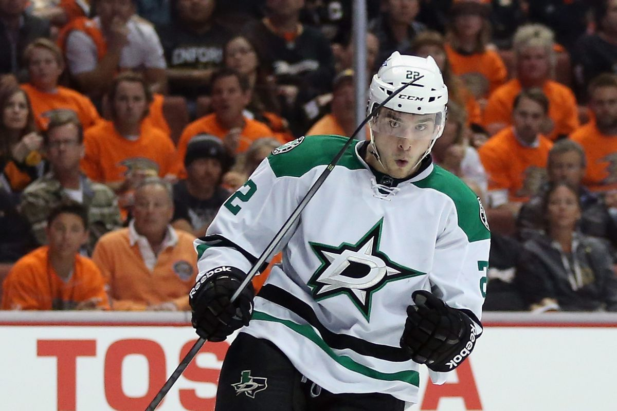 """Sceviour celebrates a playoff goal in front of Ducks """"fans"""""""