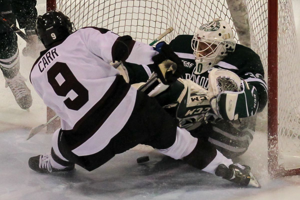 Daniel Carr and his Union teammates bowled over Dartmouth en route to the ECAC semifinals in Lake Placid.