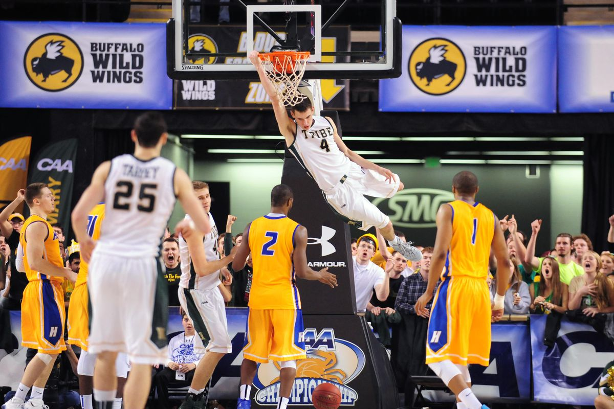 Omar Prewitt slams home two of his career high 33 points in thrilling victory over Hofstra in CAA semifinals