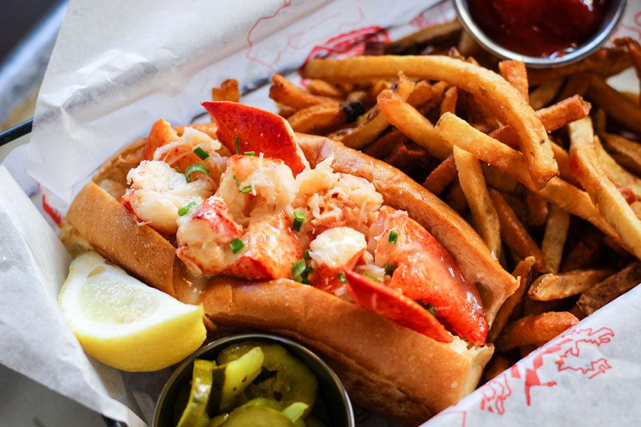 A Connecticut-style lobster roll from the Walrus & Oyster Ale House
