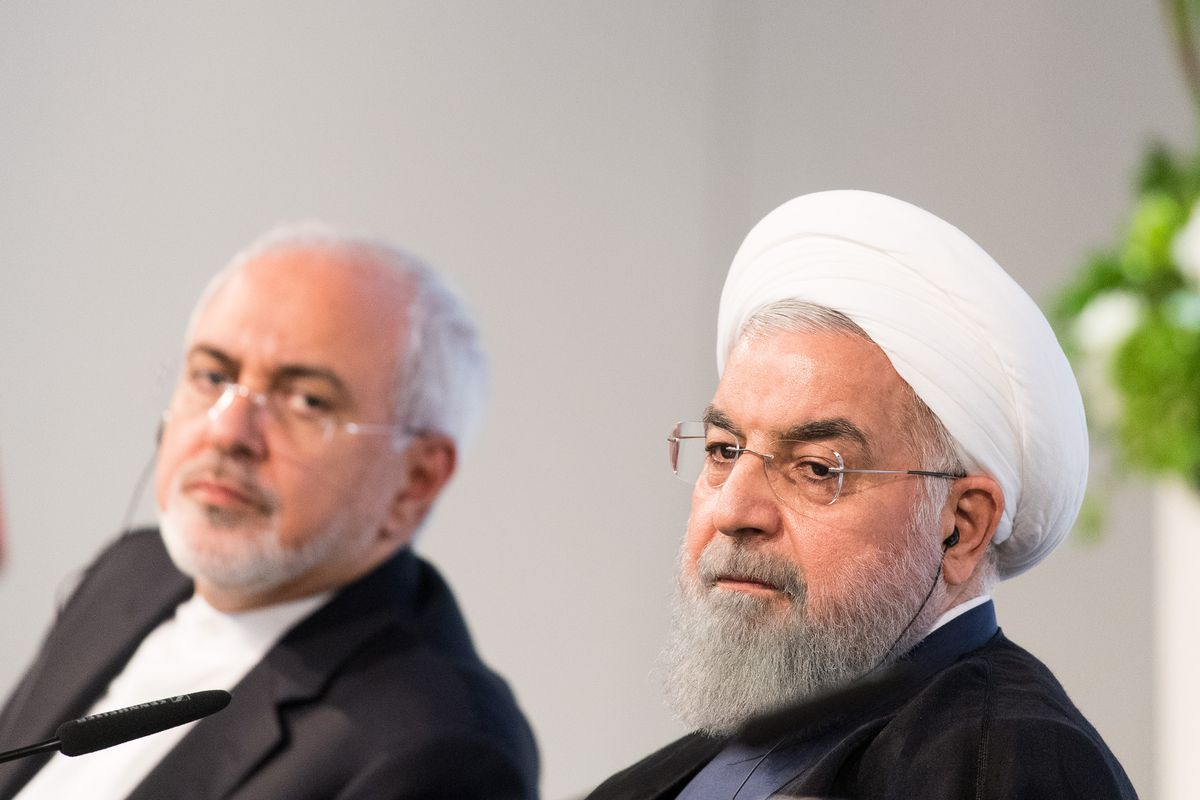 Iranian President Hassan Rouhani alongside Javad Zarif, his foreign minister, on July 4, 2018, in Vienna.