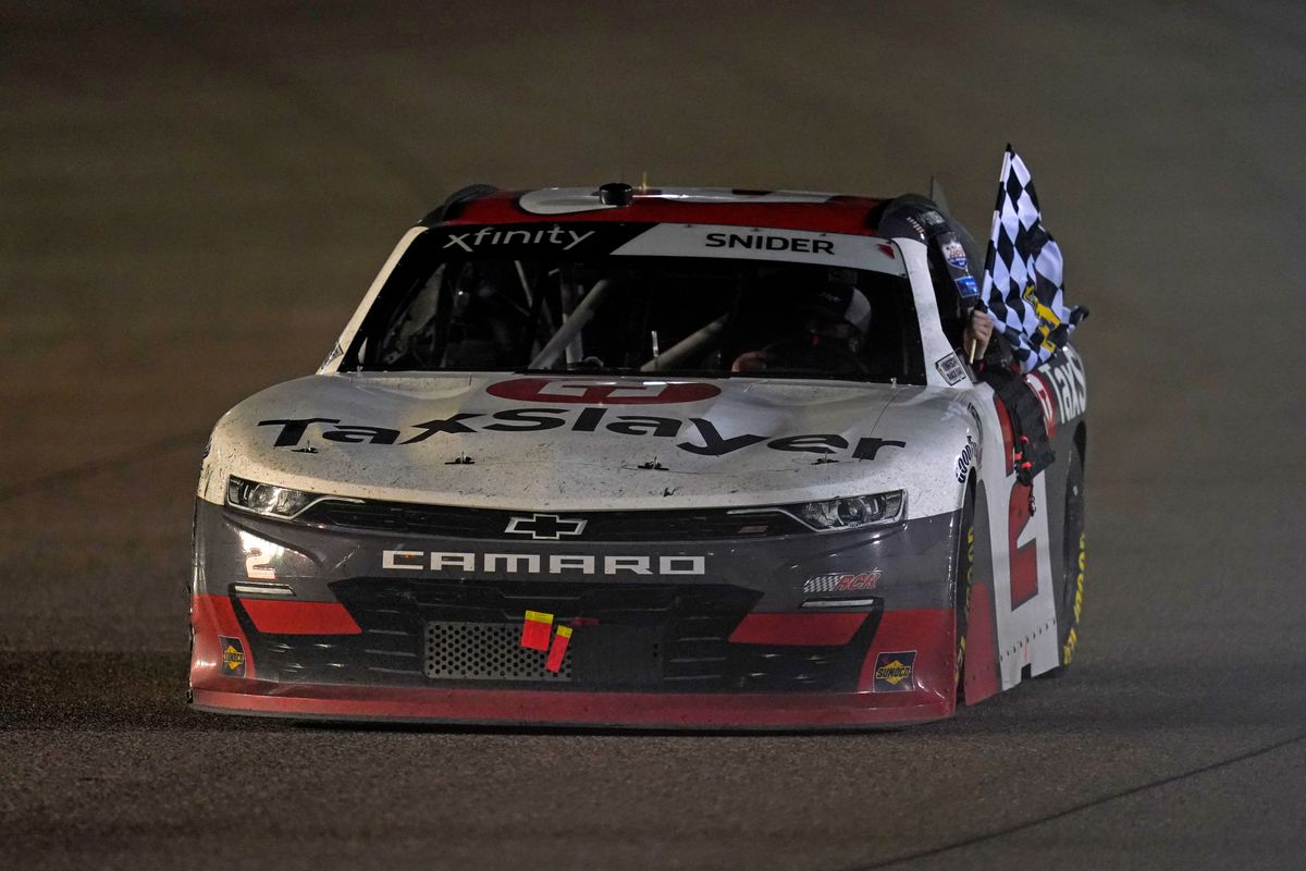 NASCAR Xfinity Series driver Myatt Snider (2) does a victory lap after winning the Contender Boats 250 at Homestead-Miami Speedway.