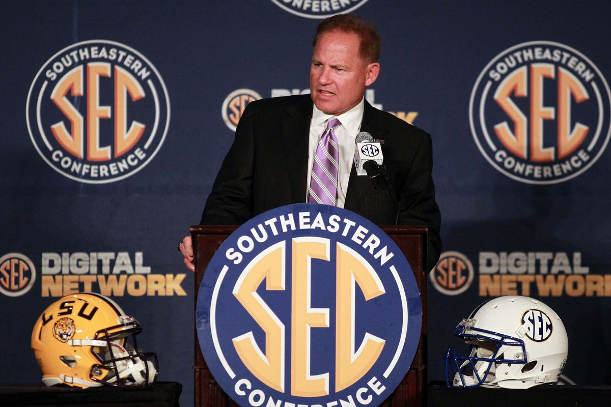 July 18, 2012; Hoover, AL, USA;  LSU Tigers head coach Les Miles during a press conference at the 2012 SEC media days event at the Wynfrey Hotel.   Mandatory Credit: Marvin Gentry-US PRESSWIRE