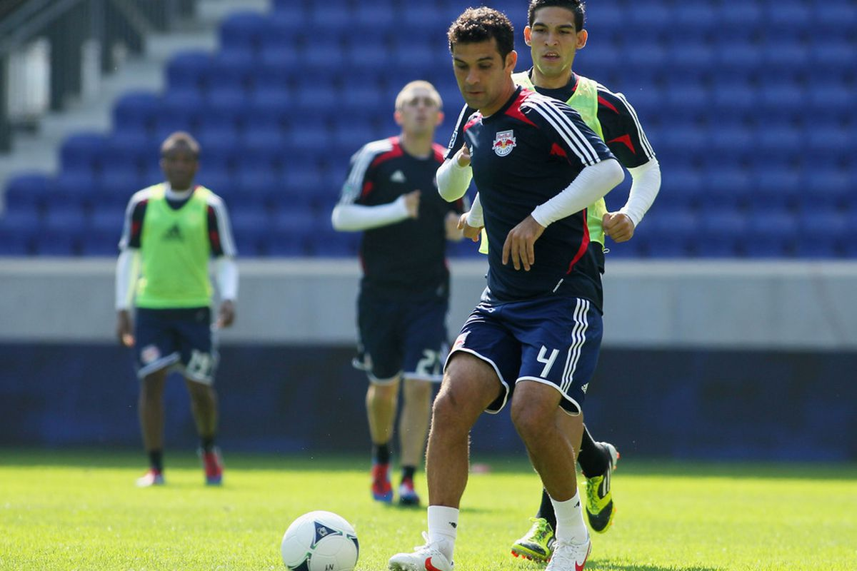 Rafa Marquez has been training well reportedly but will need to put in a strong performance on Sunday for the Red Bulls to earn their first win of the 2012 season (Photo by Mike Stobe/Getty Images for the New York Red Bulls).