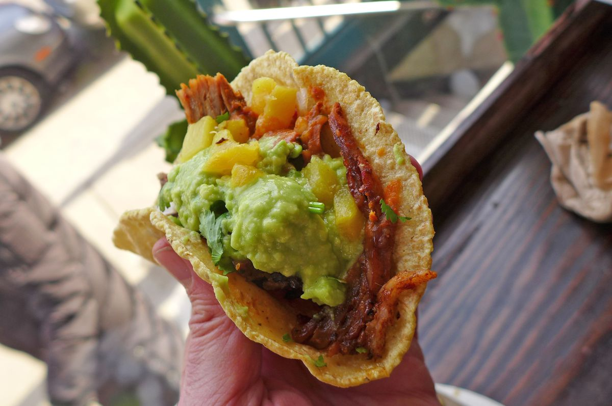 A hand holds a pork taco so you can see what's inside from the end.