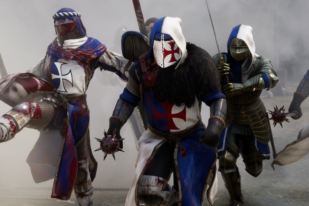 Warriors charge into battle in Mordhau.