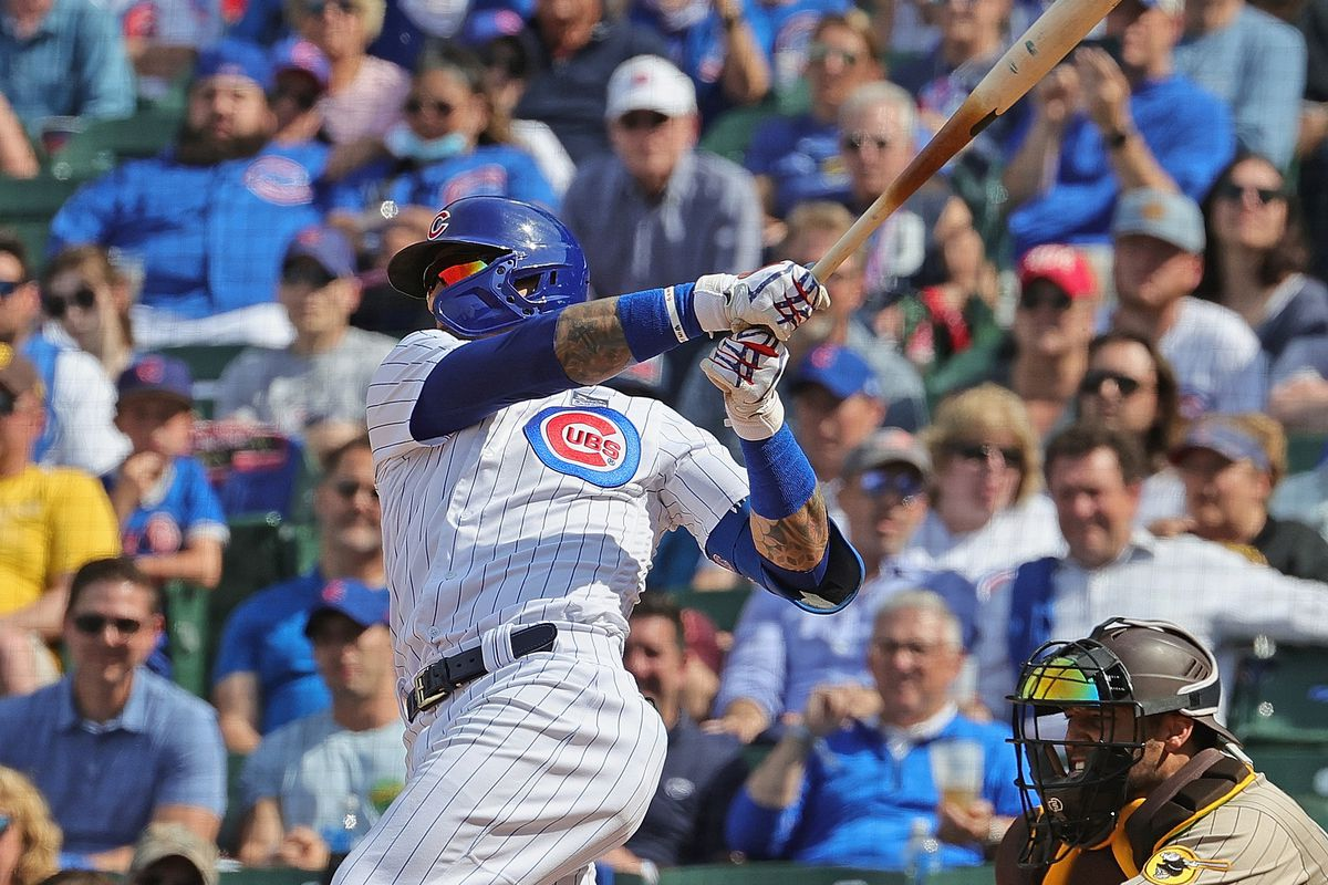 Javier Baez #9 of the Chicago Cubs hits a two run home run in the 7th inning against the San Diego Padres at Wrigley Field on June 02, 2021 in Chicago, Illinois.
