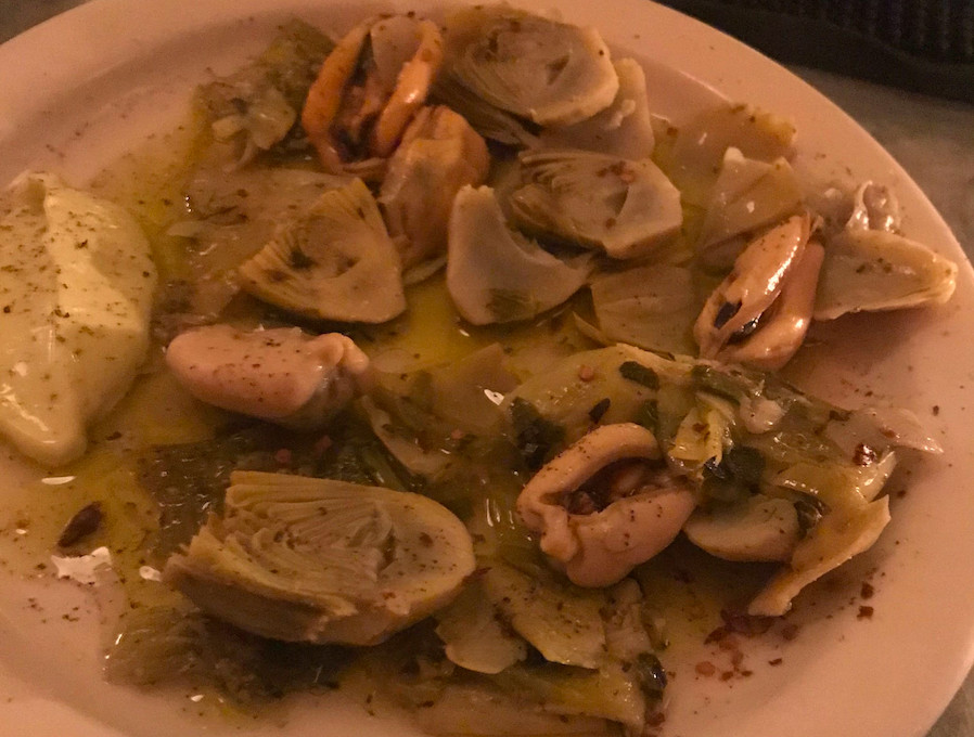 Artichokes and leeks with mussels escabeche at Cervo's