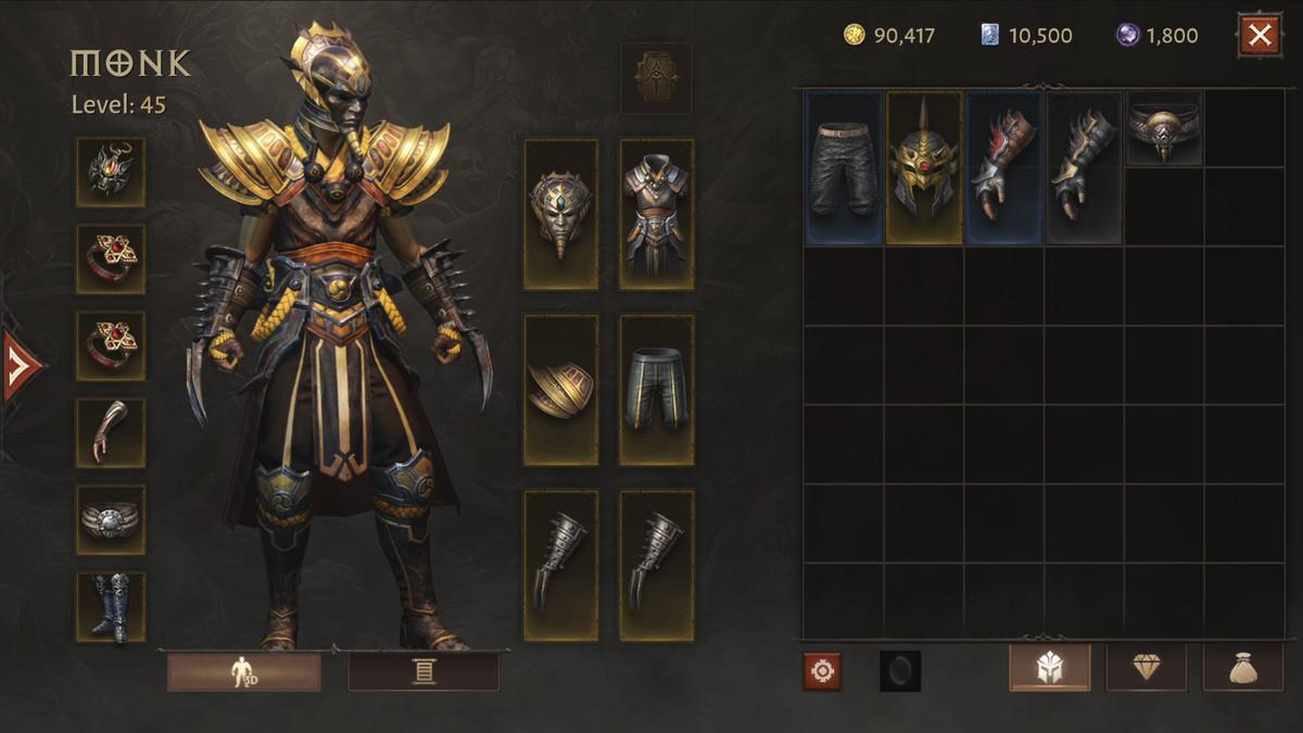 Diablo Immortal gear UI screen