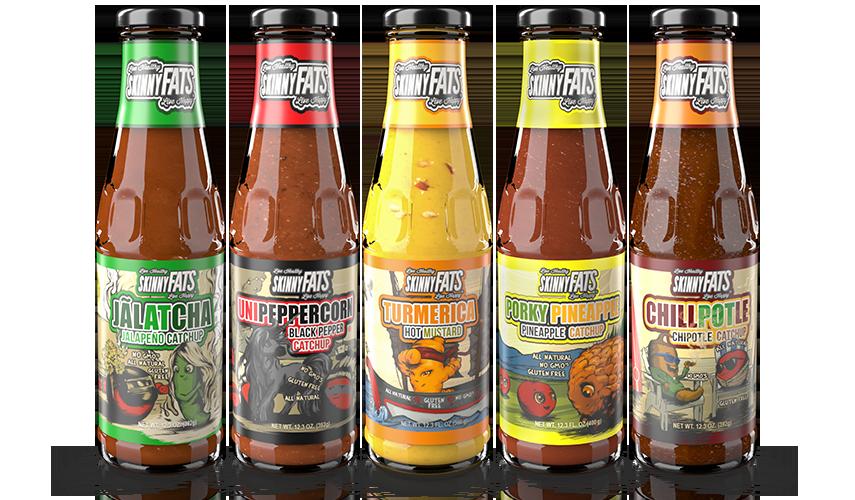 Five bottles of sauces