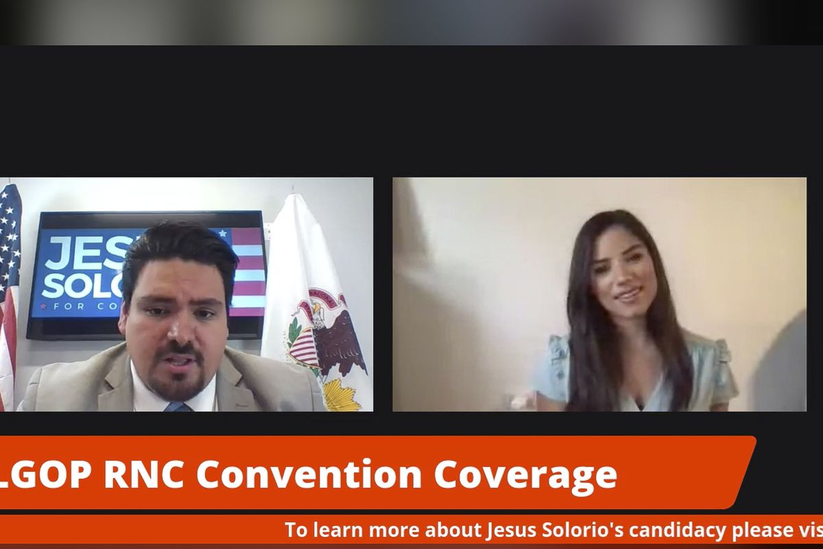 """Catalina Lauf and 4th Congressional District candidate Jesus Solorio, left, participate in the Illinois Republican delegation's """"Land of Opportunity"""" livestream on Tuesday."""