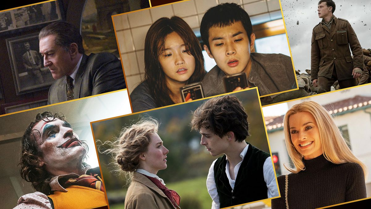 Grid of images featuring 6 of the 9 Best Picture nominees for this years Oscar