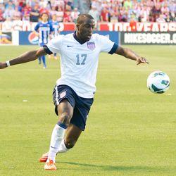 USA forward Jozy Altidore (17) controls the ball against Honduras.