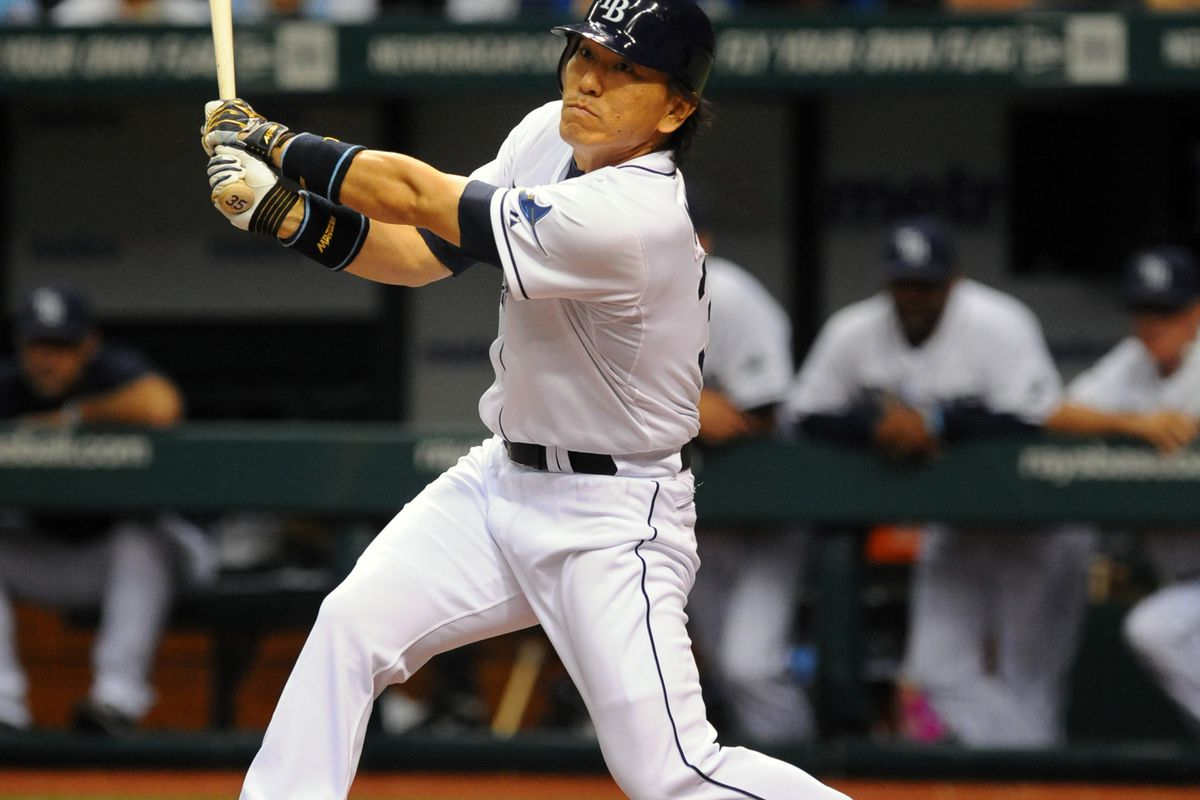ST. PETERSBURG, FL - JULY 21: Designated hitter Hideki Matsui #35 of the Tampa Bay Rays bats against the Seattle Mariners July 21, 2012 at Tropicana Field in St. Petersburg, Florida. Seattle won 2 - 1. (Photo by Al Messerschmidt/Getty Images)