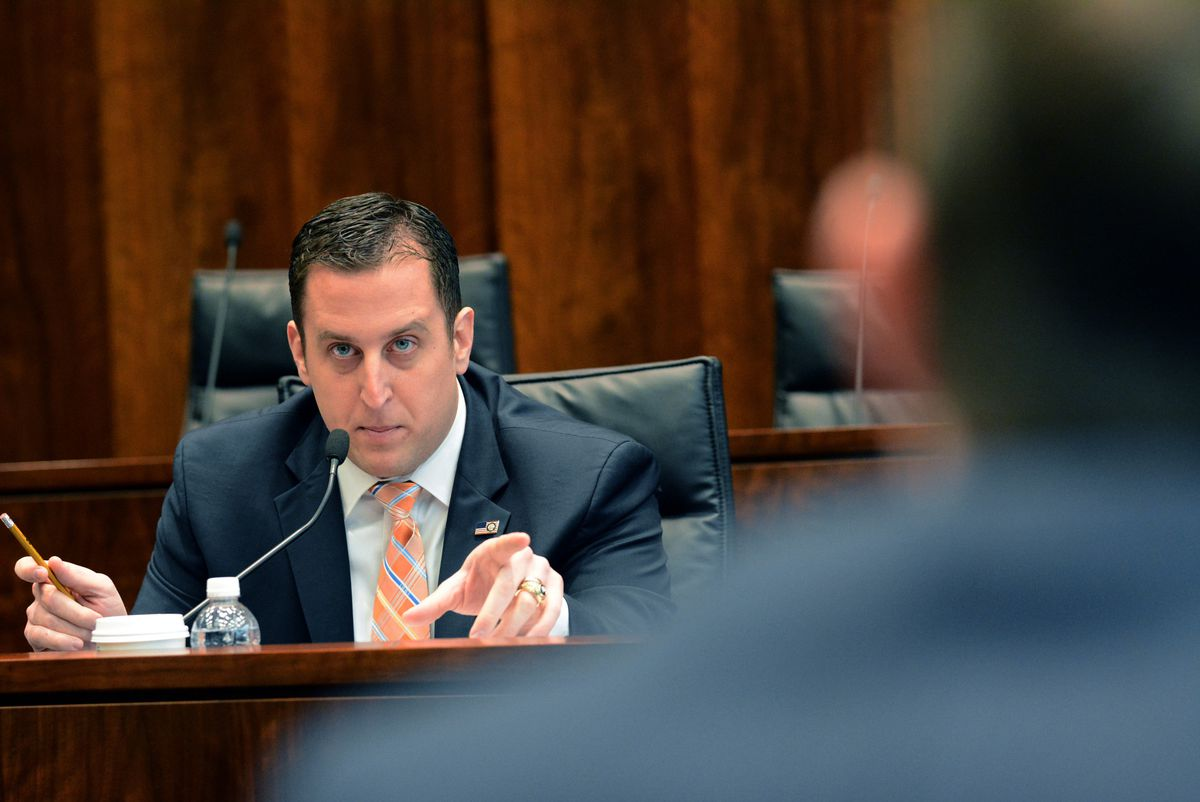 State Sen. Michael Hastings questions a state budget official during a committee hearing in 2015.