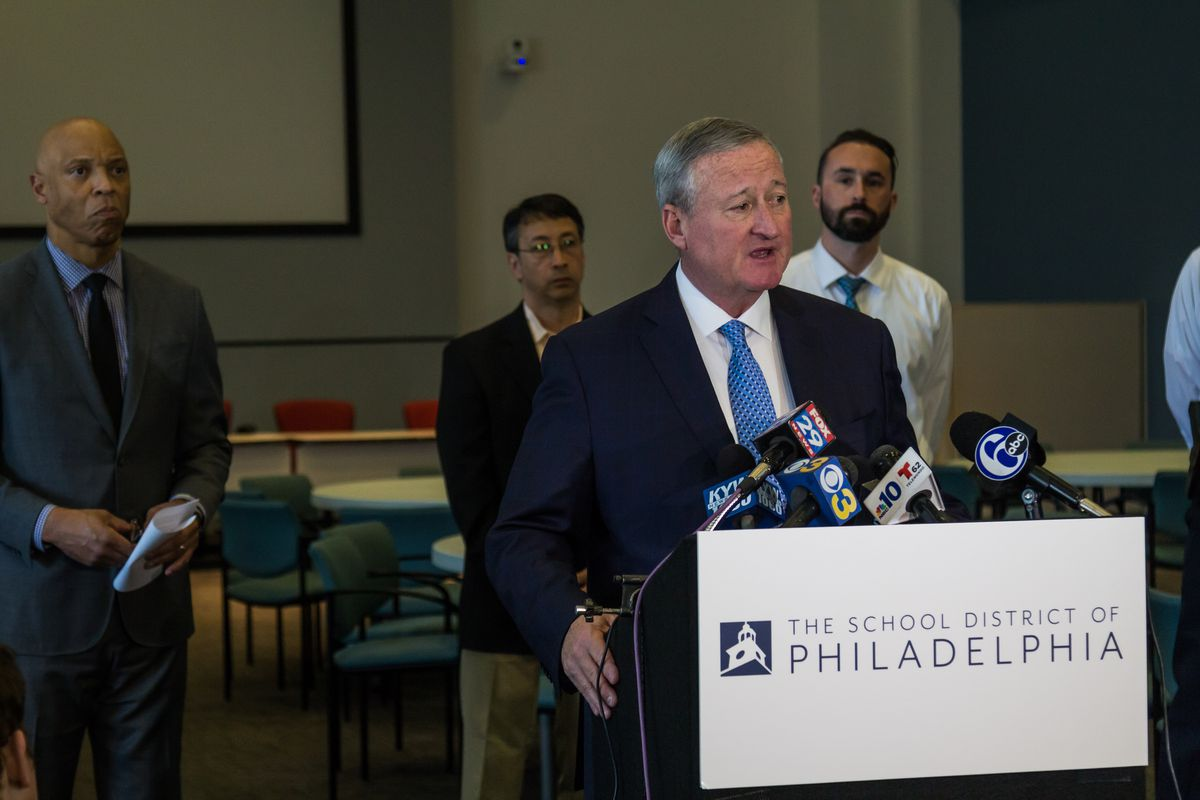 Mayor Jim Kenney speaks to reporters during a press conference at District headquarters.