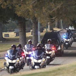 Former Utah Governor Olene Walker's funeral procession travels through the Salt Lake City Cemetery in Salt Lake City on Friday, Dec. 4, 2015. Walker died of natural causes at age 85.