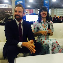 Josh and Naomi Davis speak with the media following their RootsTech keynote address.