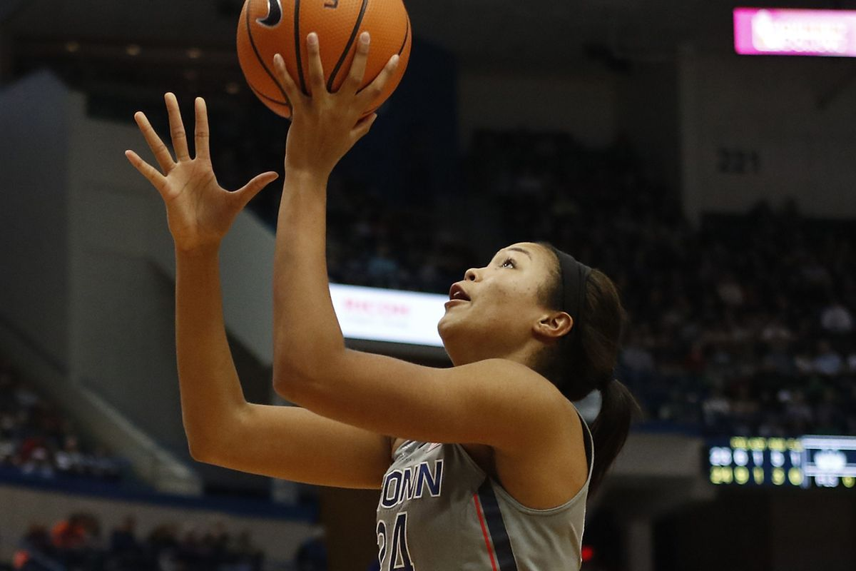 UConn�s Napheesa Collier (24) lays it in during the Notre Dame Fighting Irish vs UConn Huskies women's college basketball game in the Women's Jimmy V Classic at the XL Center in Hartford, CT on December 3, 2017.