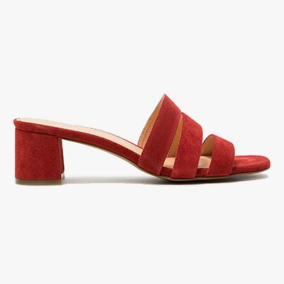 Red suede strap mules