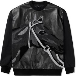 """Pullover w pixel horse print, $150 (was $1,049) via <a href=""""http://store.hypebeast.com/brands/3-1-phillip-lim/black-leather-front-panel-and-horse-loop-embroidery-classic-l-s-pullover-hoodie""""> Hypebeast </a>"""