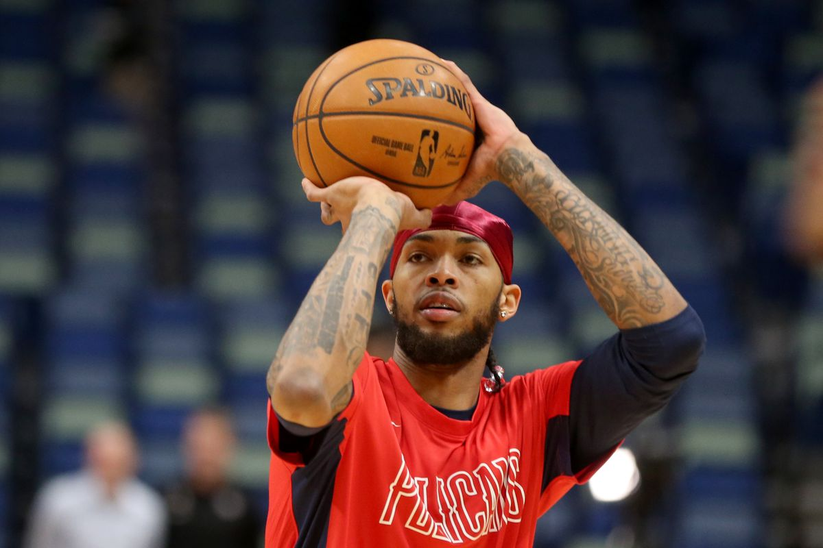 New Orleans Pelicans forward Brandon Ingram warms up before a game against the Los Angeles Clippers at the Smoothie King Center.