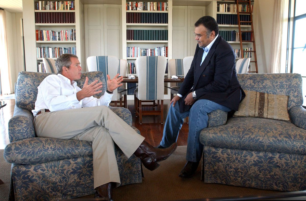 President George W. Bush meets with Saudi Ambassador to the US, Prince Bandar bin Sultan, in 2002 (Eric Drapper-White House/Getty)