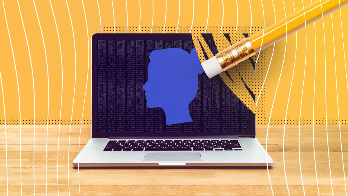 Illustration of a laptop that has the silhouette of a woman on it being erased by a pencil.