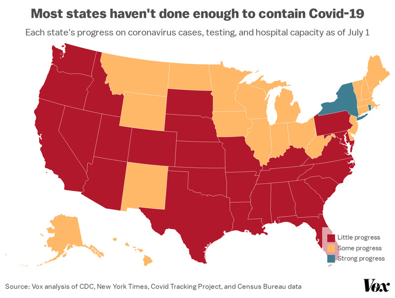 coronavirus_reopening_map Just 2 states meet these basic criteria to reopen and stay safe