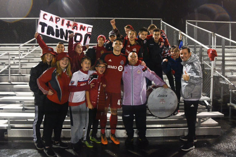 USL Photo - TFC II captain Mitch Taintor poses with young fans in the final game of the 2017 season