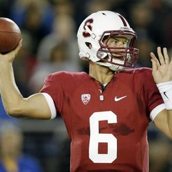Stanford quarterback Josh Nunes (6) throws against the San Jose State during the first half of an NCAA college football game in Stanford, Calif., Friday, Aug.  31, 2012.