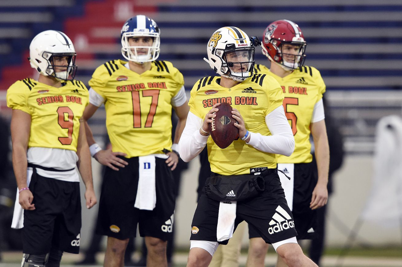 Quarterbacks for the North team at the Senior Bowl.