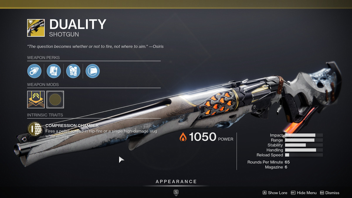The Duality Exotic weapon from Destiny 2