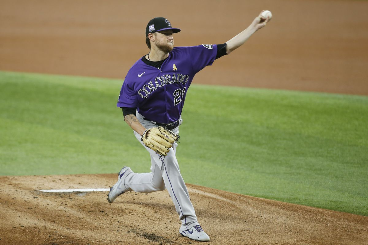Colorado Rockies starting pitcher Kyle Freeland (21) throws a pitch in the first inning against the Texas Rangers at Globe Life Field.