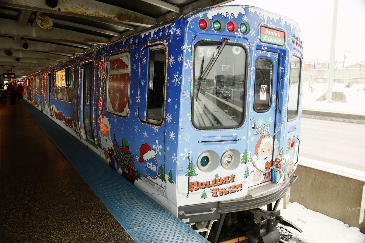 An L train decked out in a special holiday wrapping.