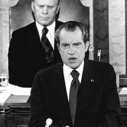 This picture, with Gerald Ford seated behind him, shows President Richard Nixon delivering a State of the Union message before a joint session of Congress in Washington in January, 1974.