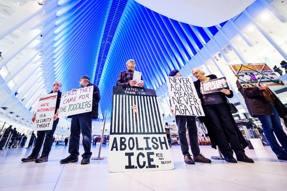 Members of the activist group Rise and Resist at the World Trade Center in New York City.