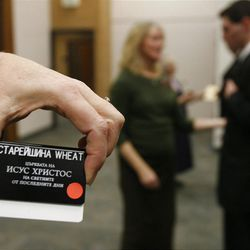 Elder Michael Wheat (not in photo) is shown his new name tag during his first day at the Provo Missionary Training Center of The Church of Jesus Christ of Latter-day Saints in Provo, Utah, Wednesday, Feb. 2, 2011.