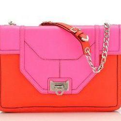 """<a href=""""http://rebeccaminkoff.com/shop/handbags/rebecca-minkoff-collection/allie.html""""> Neon color block Allie bag</a>, $795 rebeccaminkoff.com"""