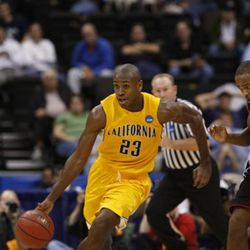 California's Patrick Christopher (23) is seen during an NCAA first-round college basketball game against Louisville in Jacksonville, Fla., Friday, March 19, 2010.  (AP Photo/Steve Helber)