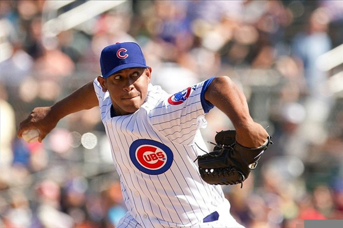 Chicago Cubs pitcher Carlos Marmol throws a pitch against the Oakland Athletics during a spring training game at HoHoKam Park. Credit: Allan Henry-US PRESSWIRE