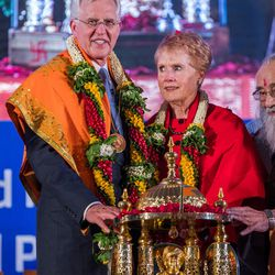 Elder D. Todd Christofferson, a member of the Quorum of Twelve Apostles for The Church of Jesus Christ of Latter Day Saints receives the Philosopher Saint Shri Dnyaneshwara World Peace Prize-2017, during an award ceremony at the MIT World Peace university  in Pune, Maharashtra, India on August 14, 2017.