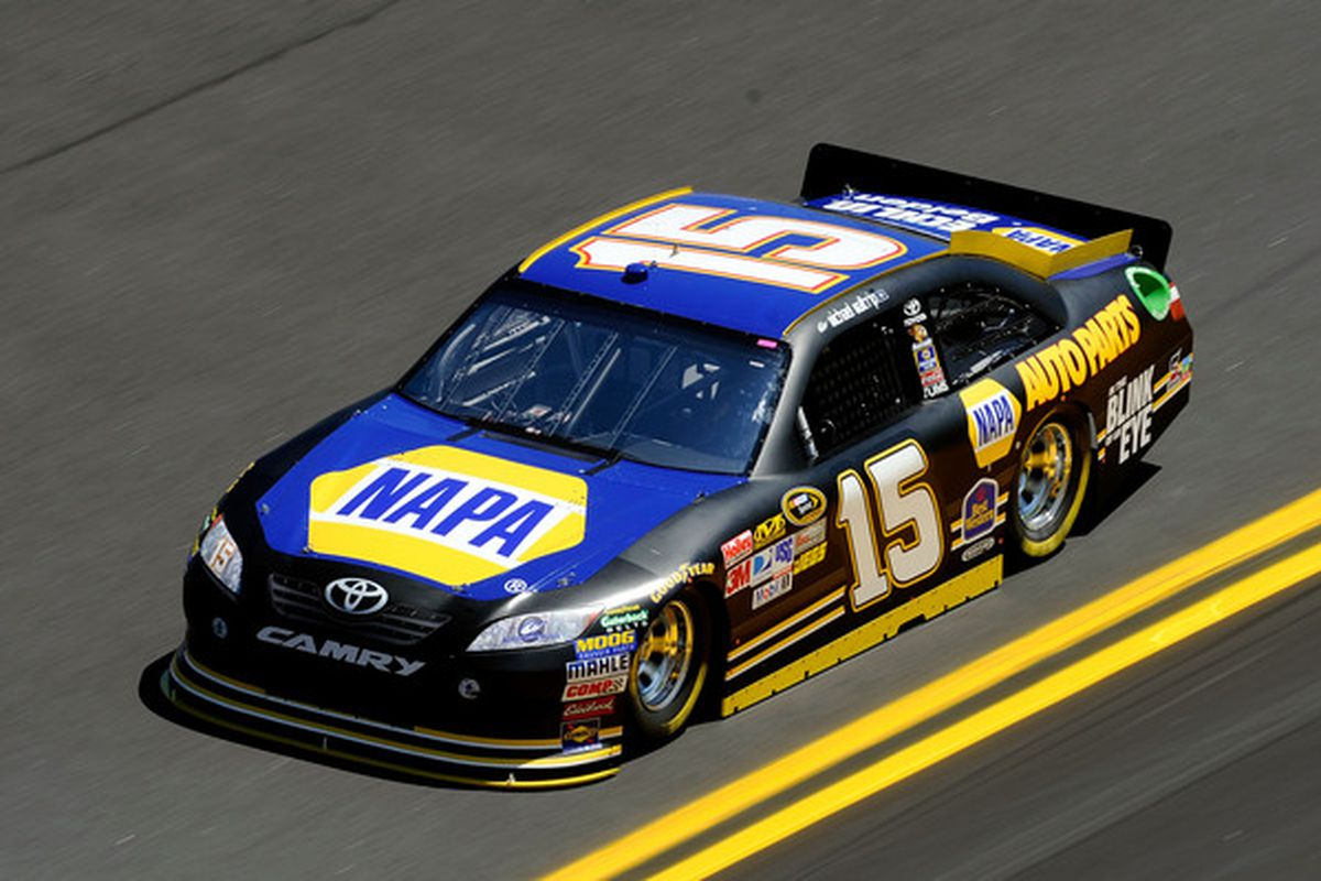 Atlanta-based NAPA Auto Parts, seen here on two-time Daytona 500 champion Michael Waltrip's Toyota, is one of several local companies that can be found in NASCAR. (Photo by John Harrelson/Getty Images for NASCAR)