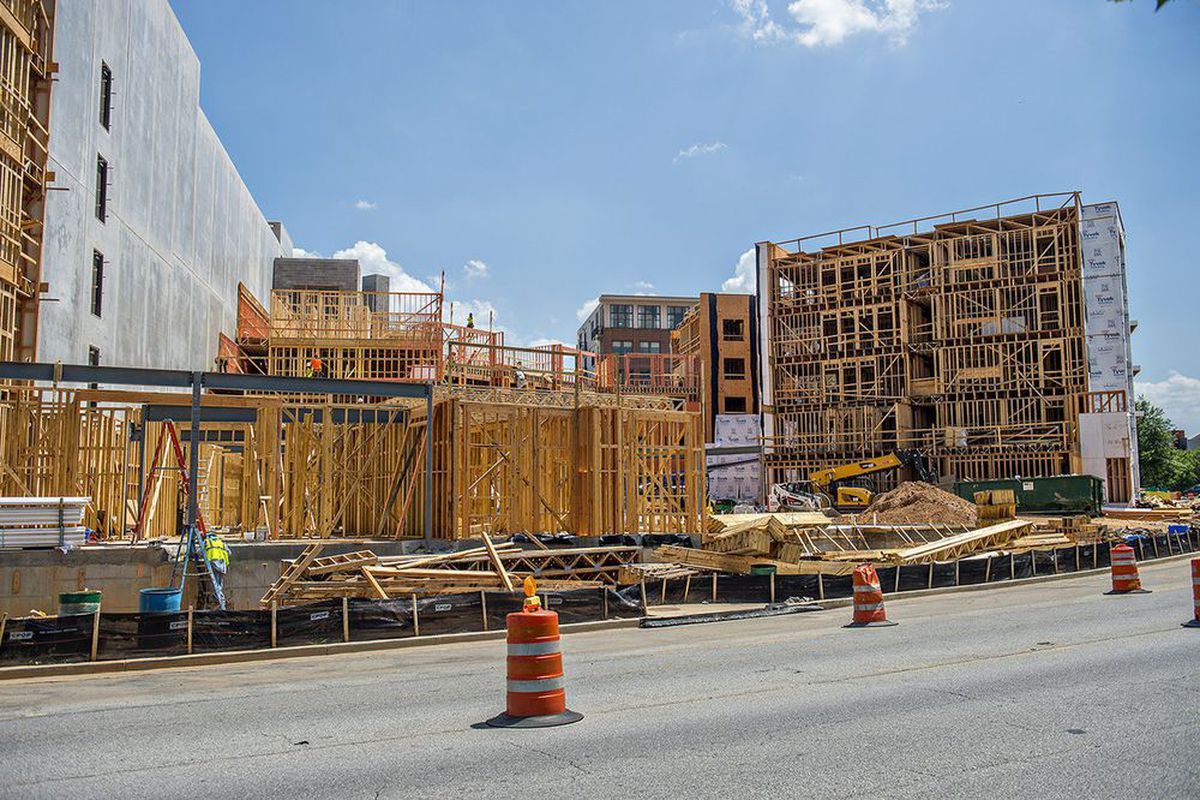 A photo of apartment construction in downtown Decatur back in 2015.