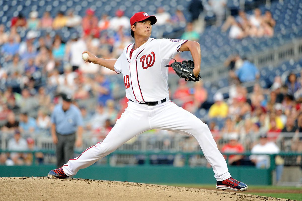 WASHINGTON, DC - JULY 29:  Chien-Ming Wang #40 of the Washington Nationals pitches against the New York Mets at Nationals Park on July 29, 2011 in Washington, DC.  (Photo by Greg Fiume/Getty Images)