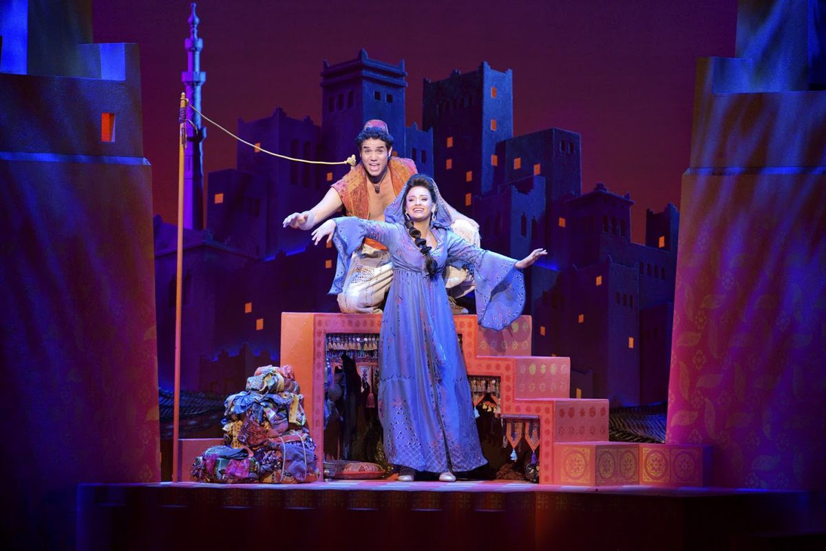"""Adam Jacobs stars as the title character in the Disney stage musical """"Aladdin,"""" with Isabelle McCalla as Princess Jasmine.   PHOTO BY DEEN VAN MEER"""